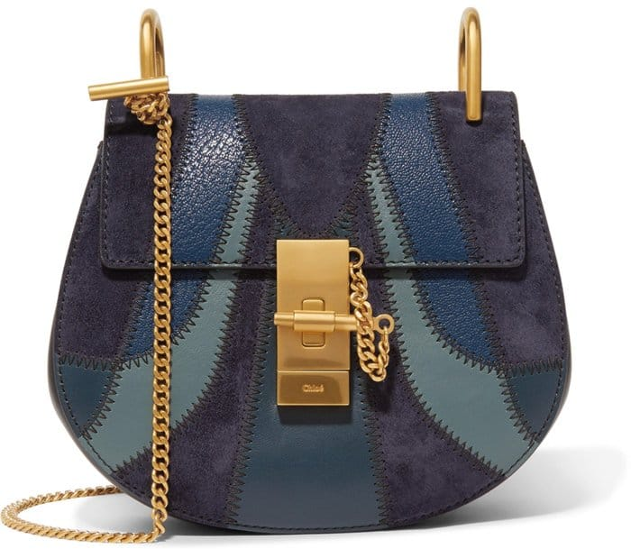 Chloe Drew Mini Patchwork Leather and Suede Bag