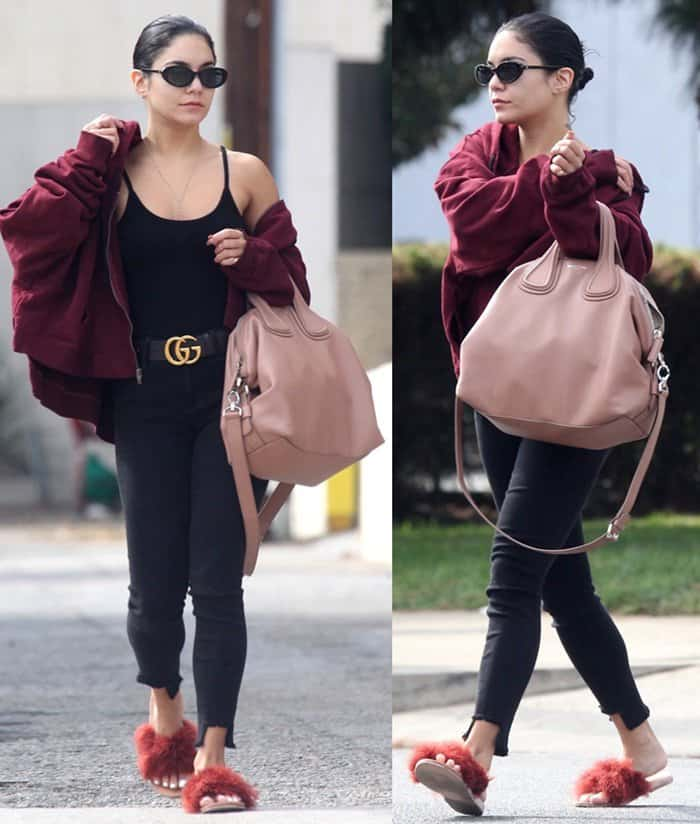 Vanessa Hudgens wears sleek and flattering skinny jeans with a black Gucci belt