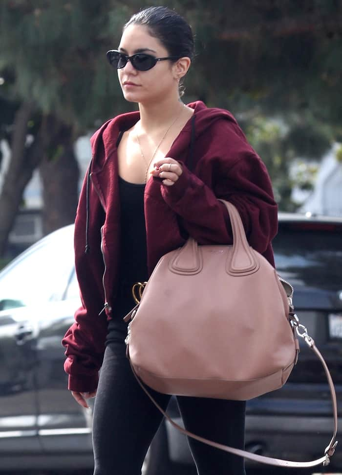 Vanessa Hudgens paired her off-duty look with a millennial pink Givenchy 'Nightingale' tote