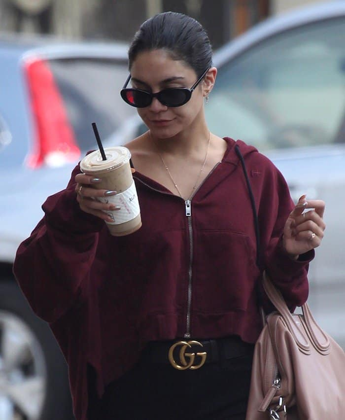 Vanessa Hudgens picked up an iced coffee at Alfred's Cafe in Los Angeles.