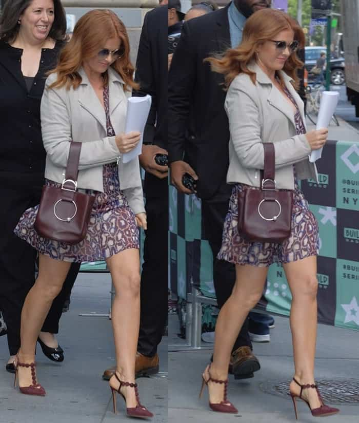 Isla Fisher spotted walking outside AOL Build in New York.