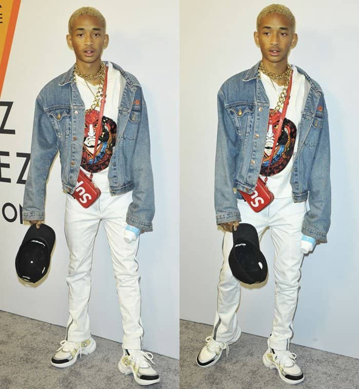 Jaden Smith attends the Louis Vuitton Exhibition in New York.