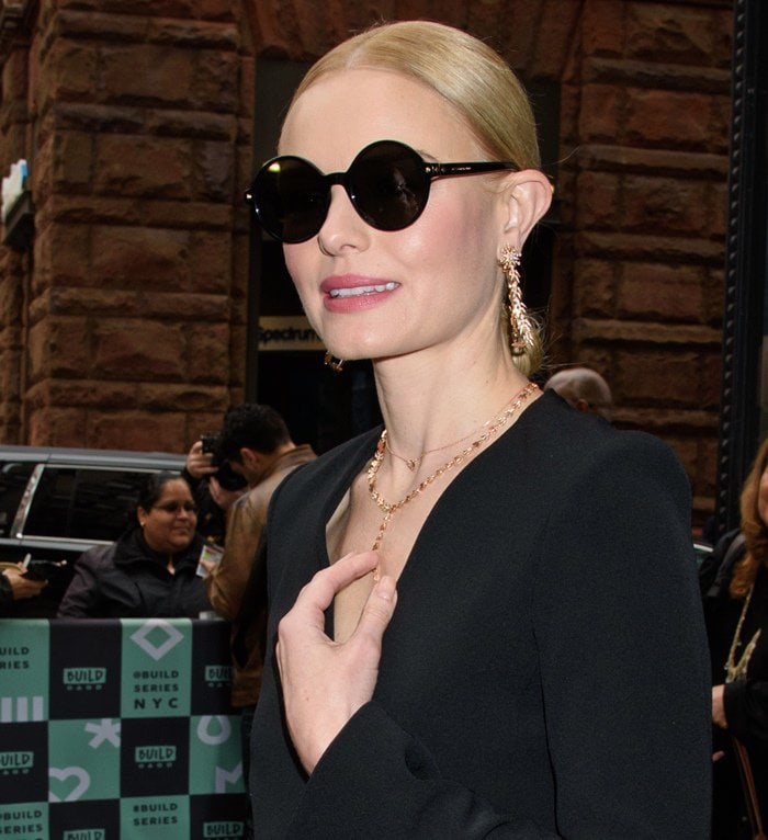 Kate Bosworth wearing an all black ensemble at AOL Build.