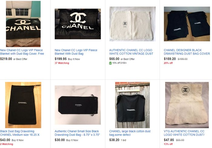Chanel dust bags typically come in black or white