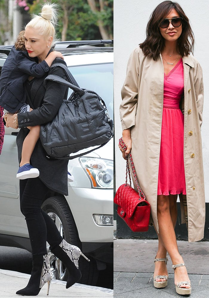 Gwen Stefani goes full-on mom mode with a puffy nylon tote while Myleene Klass sticks to the classic quilted handbag