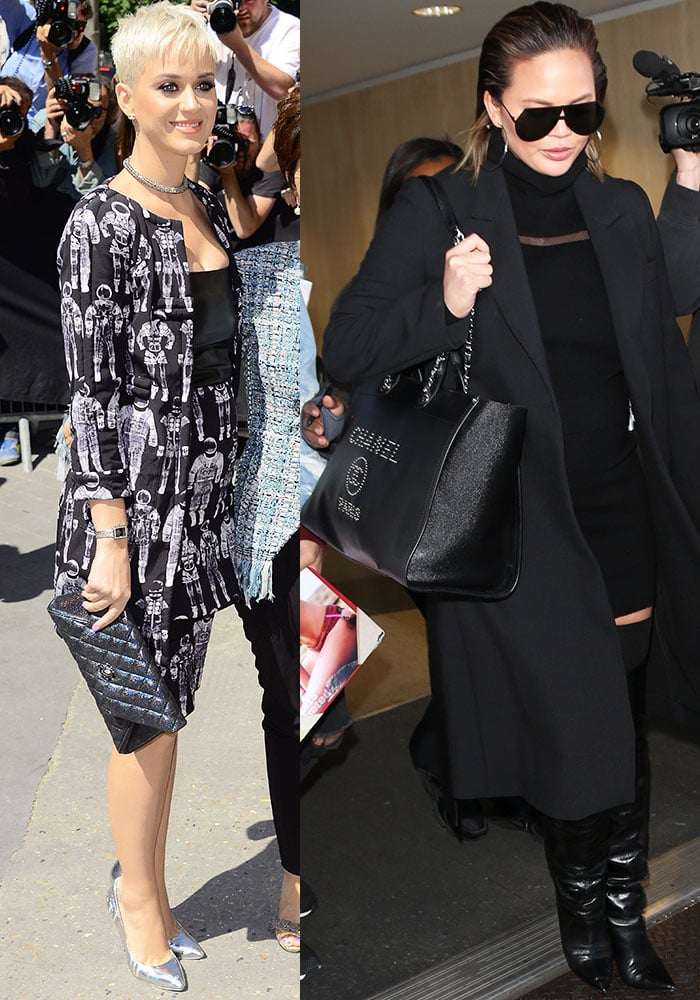 Katy Perry attends Fashion Week with a quilted clutch while Chrissy Teigen braves the airport crowd with the Chanel shopping bag