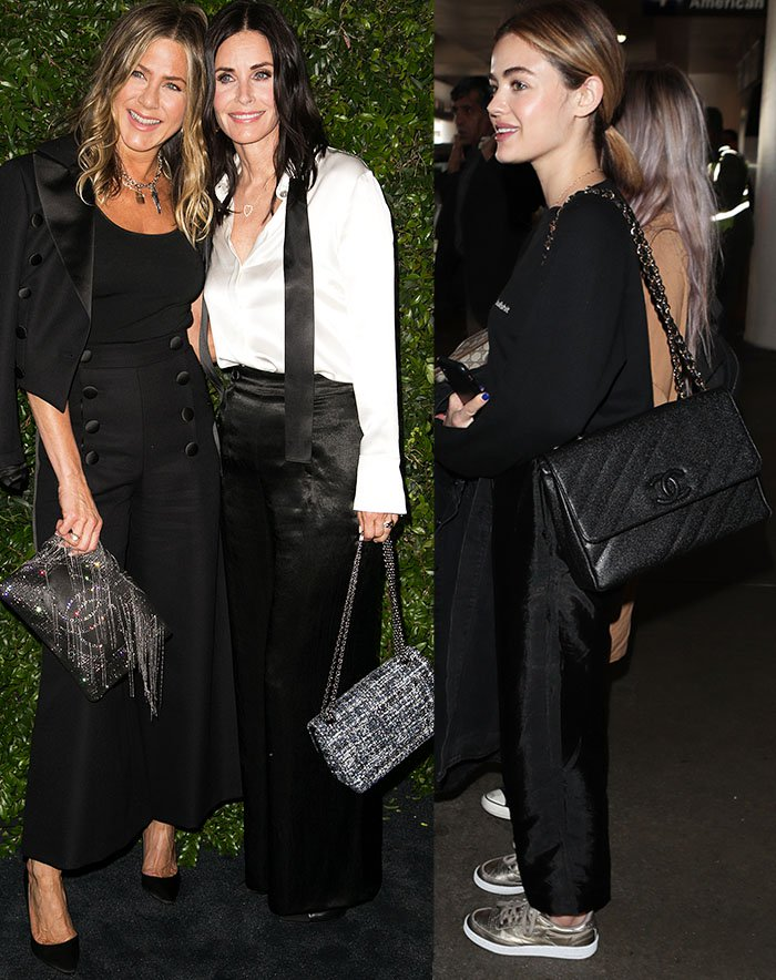 Jennifer Aniston, Courteney Cox, and Lucy Hale stick to basic colors with their Chanel bags and clutches