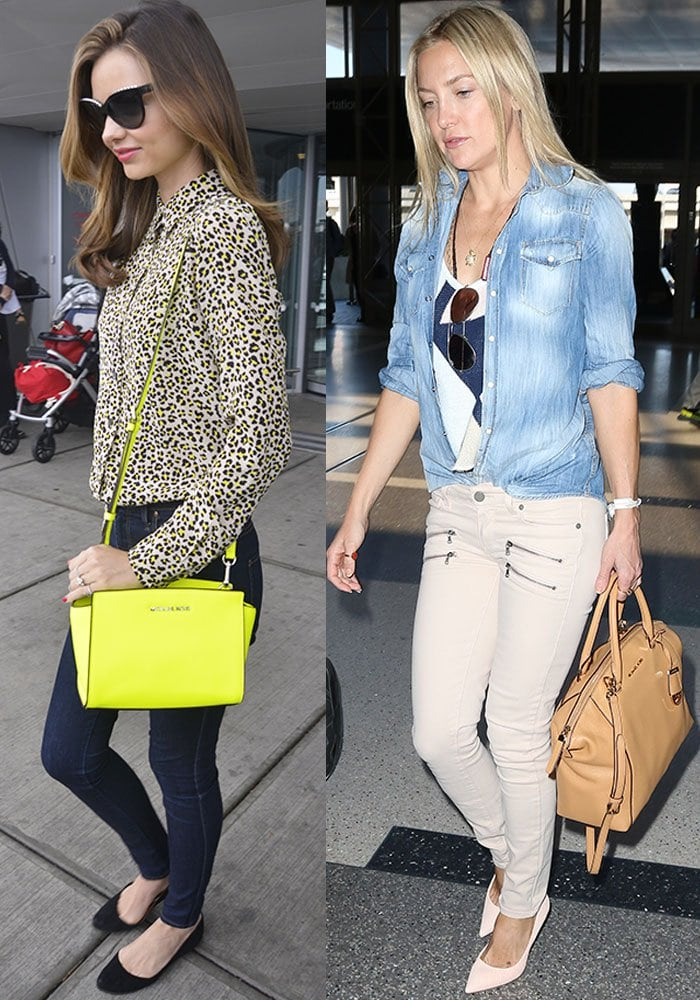 Miranda Kerr opts for the 'Selma' crossbody bag while Kate Hudson prefers the slouchy 'Large Riley' tote