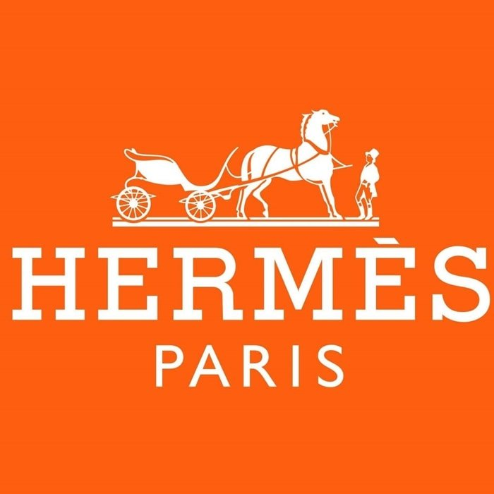 Introduced in the early 1950s, the iconic orange logo of Hermes features a Duc carriage attached to a horse