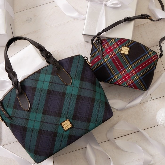 Tartan plaid Dooney & Bourke bags with leather trim