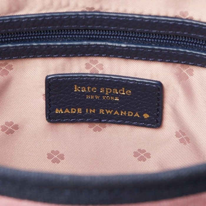Authentic Kate Spade label on limited edition handbag made by a group of local artisans in Masoro, Rwanda