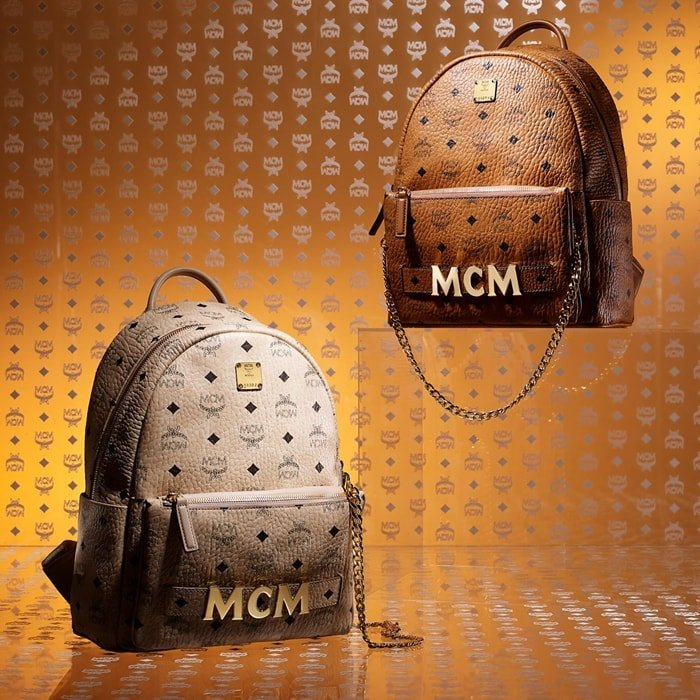 Iconic MCM backpacks with high-quality hardware