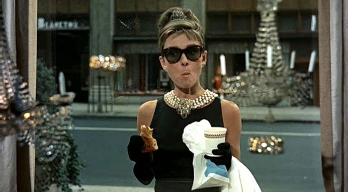 Audrey Hepburn donned a dress designed by Hubert de Givenchy in the opening of the 1961 romantic comedy film Breakfast at Tiffany's
