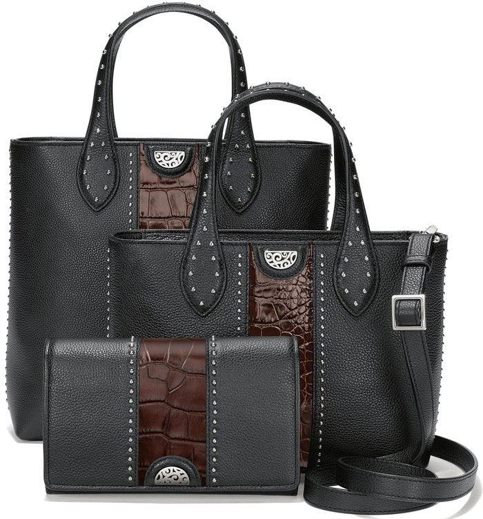 Brighton's Pretty Tough Collection features handbags made from soft, supple leathers that are punctuated by silver studs and finished with silver-plated hardware
