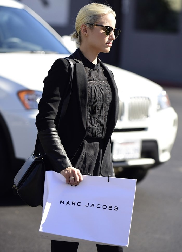 Dianna Agron leaves a Marc Jacobs store on Melrose Avenue in Los Angeles in October 2014