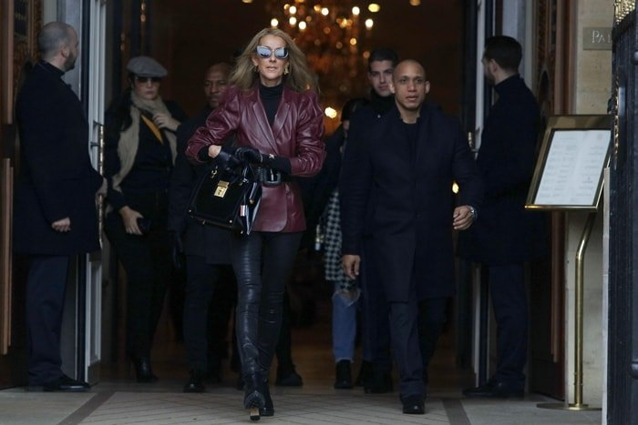 Singer Celine Dion leaving the Givenchy office building located at number 3 Avenue George V in Paris's 8th arrondissement