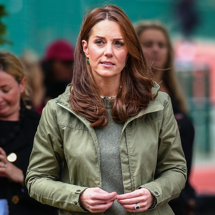 Catherine, Duchess of Cambridge wears an all-weather Stina jacket from Fjällräven