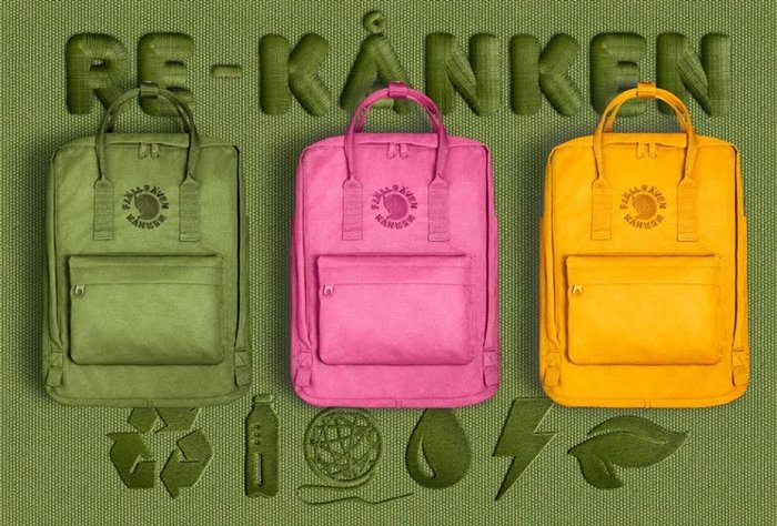 Made from recycled plastic bottles and using a new dying technique, Re-Kånken is Fjällräven's most sustainable Kånken