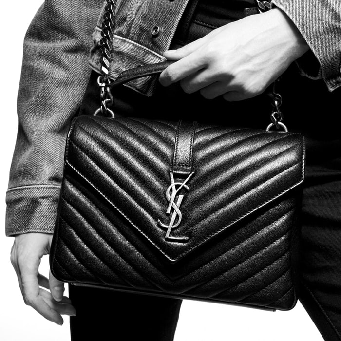 Exquisite matelassé stitching, an oversized curb chain strap and iconic monogram hardware define a rich calfskin-leather shoulder bag that offers fresh style while standing the test of time