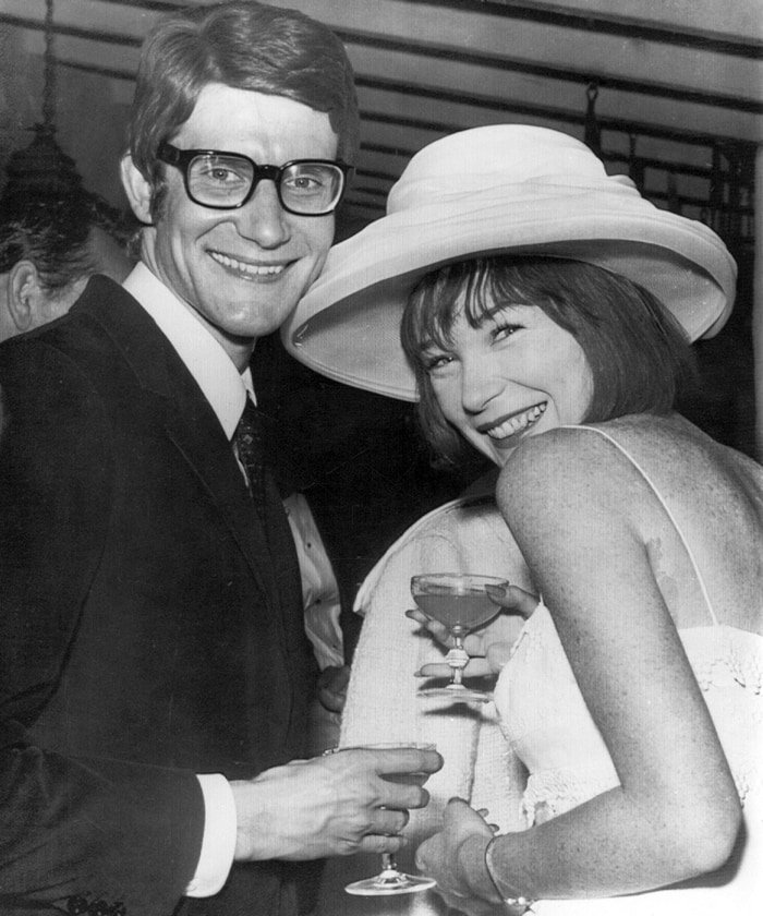 Fashion designer Yves Saint Laurent and American film actress Shirley MacLaine in 1965