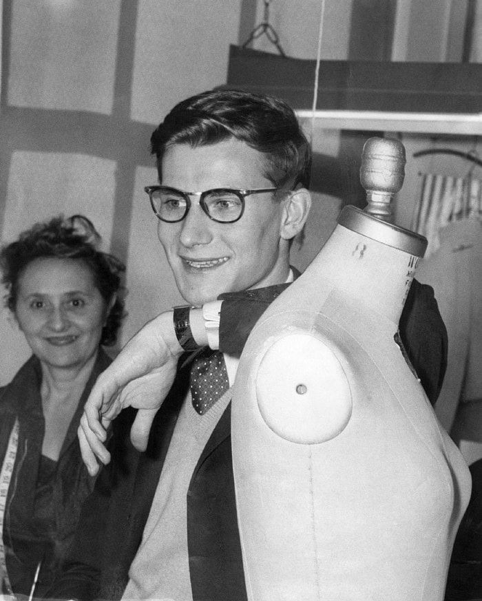 Fashion designer Yves Saint Laurent at the Dior factory showroom in 1958