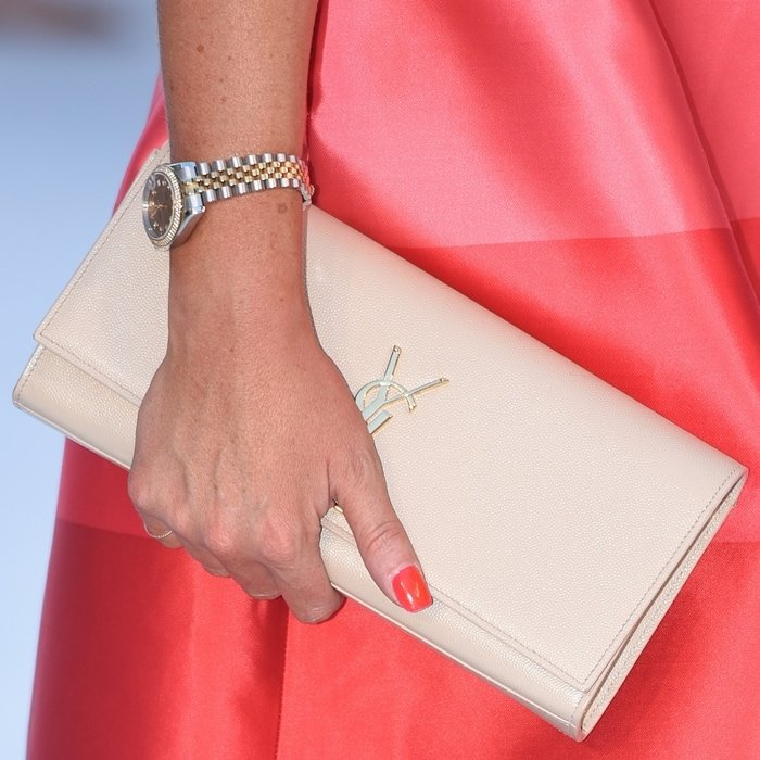 Jessica Wright carries a nude YSL clutch