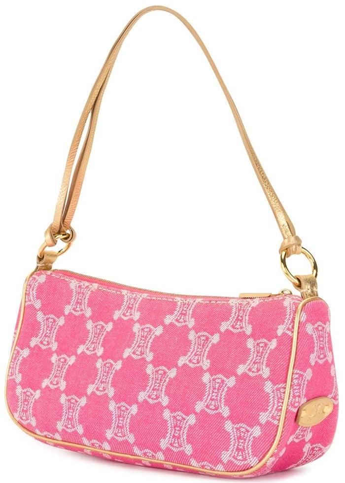 Pink/gold-tone Céline Macadam bag with single shoulder strap