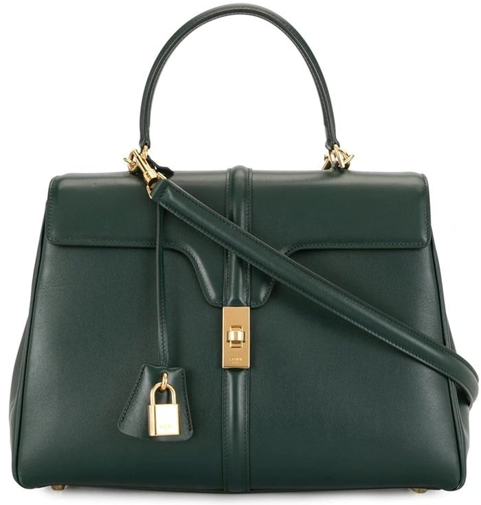Green Trapeze two-way bag with gold-tone hardware and padlock detail