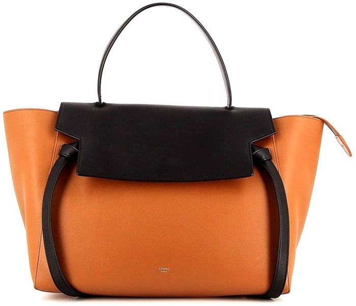 Orange/black belt bag with a foldover top with magnetic fastening