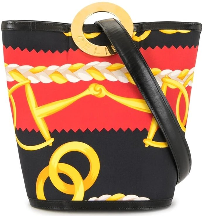 Black/red/yellow Céline logo-debossed gold-tone ring clutch