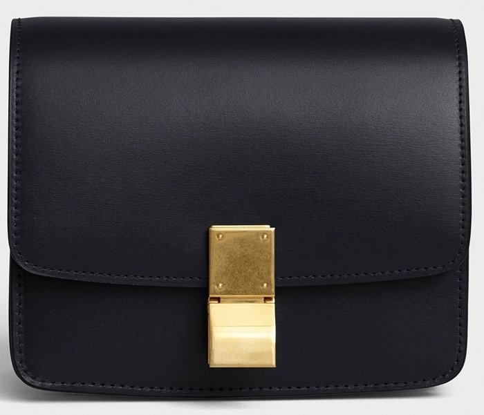Small Classic bag in box calfskin with an adjustable and removable leather strap and a metallic clasp closure