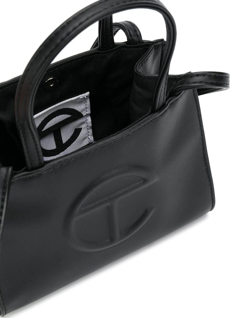 Black leather Small Shopping bag from Telfar with an internal logo patch