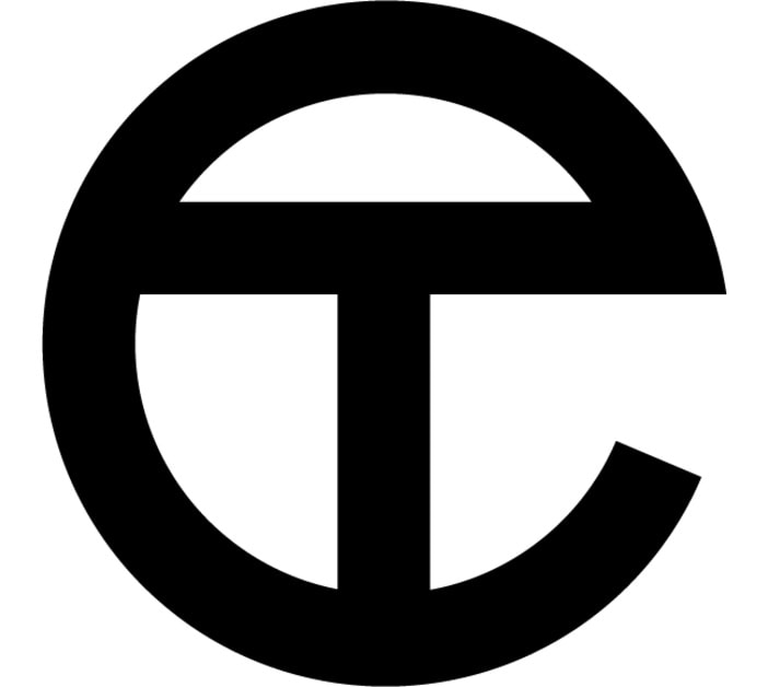 Telfar's logo features his initials, with an embossed letter T inside an embossed letter C
