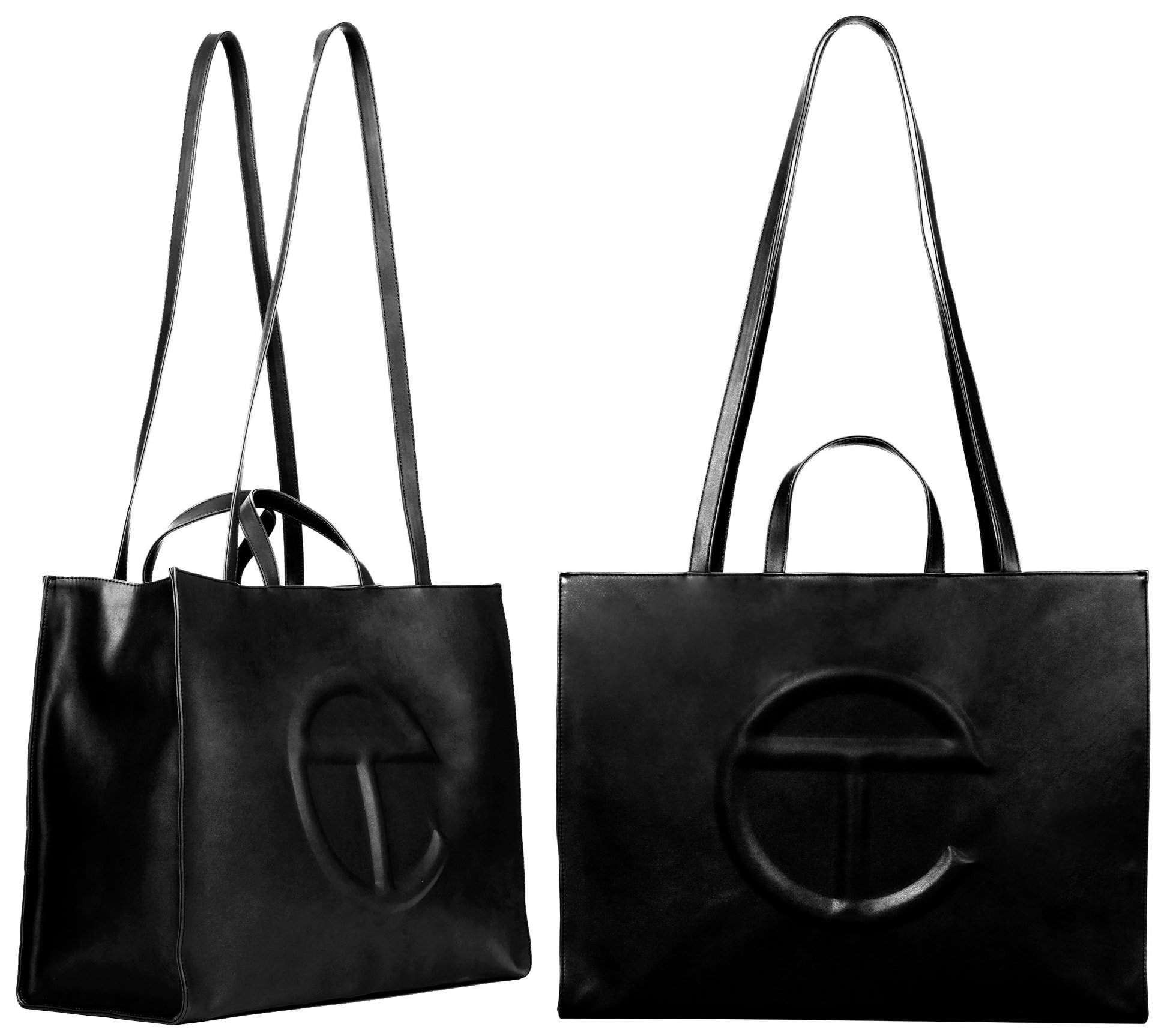 The staple large black shopping bag features a main compartment, an internal laptop-sized compartment, and an internal pocket
