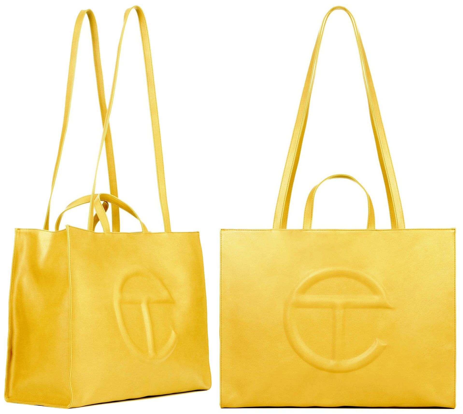 Telfar's large yellow shopping bag is one of the most popular as it comes in this year's hottest color