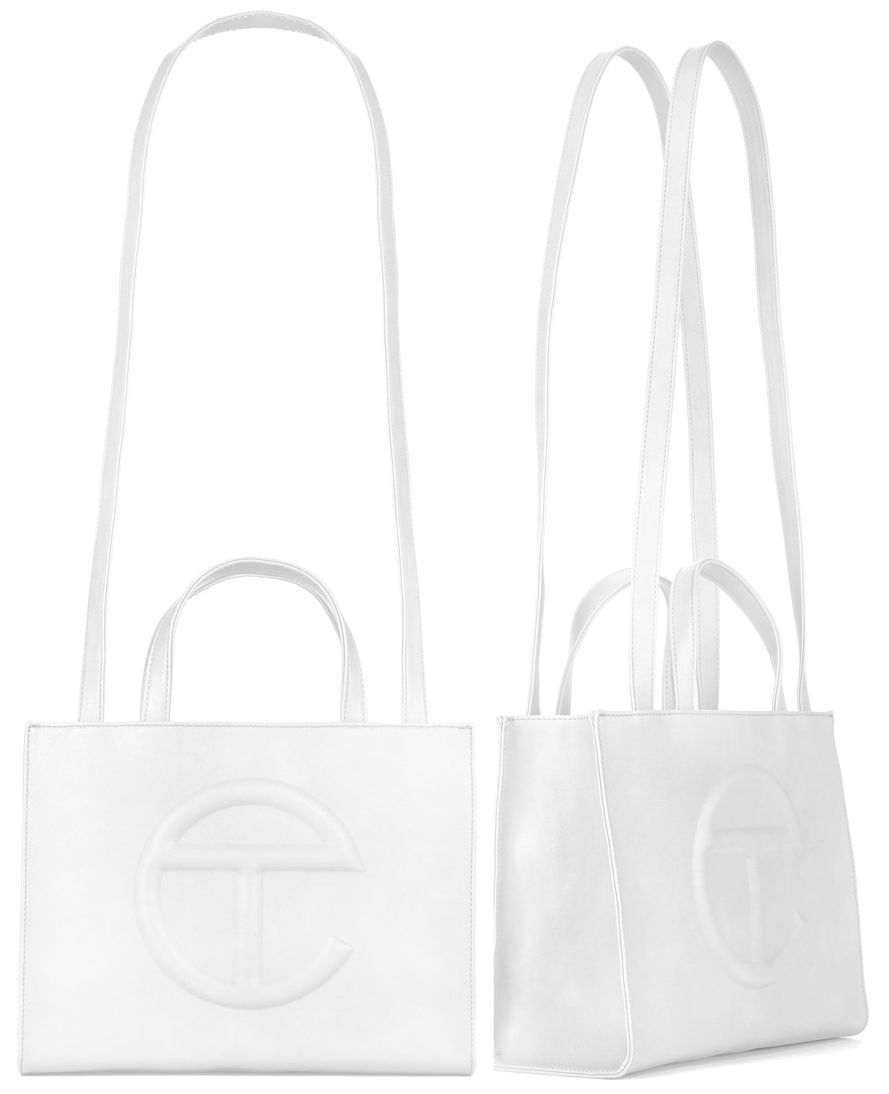 The Telfar medium shopping bag measures 10.75 inches tall, 15 inches wide, and has a depth of five inches