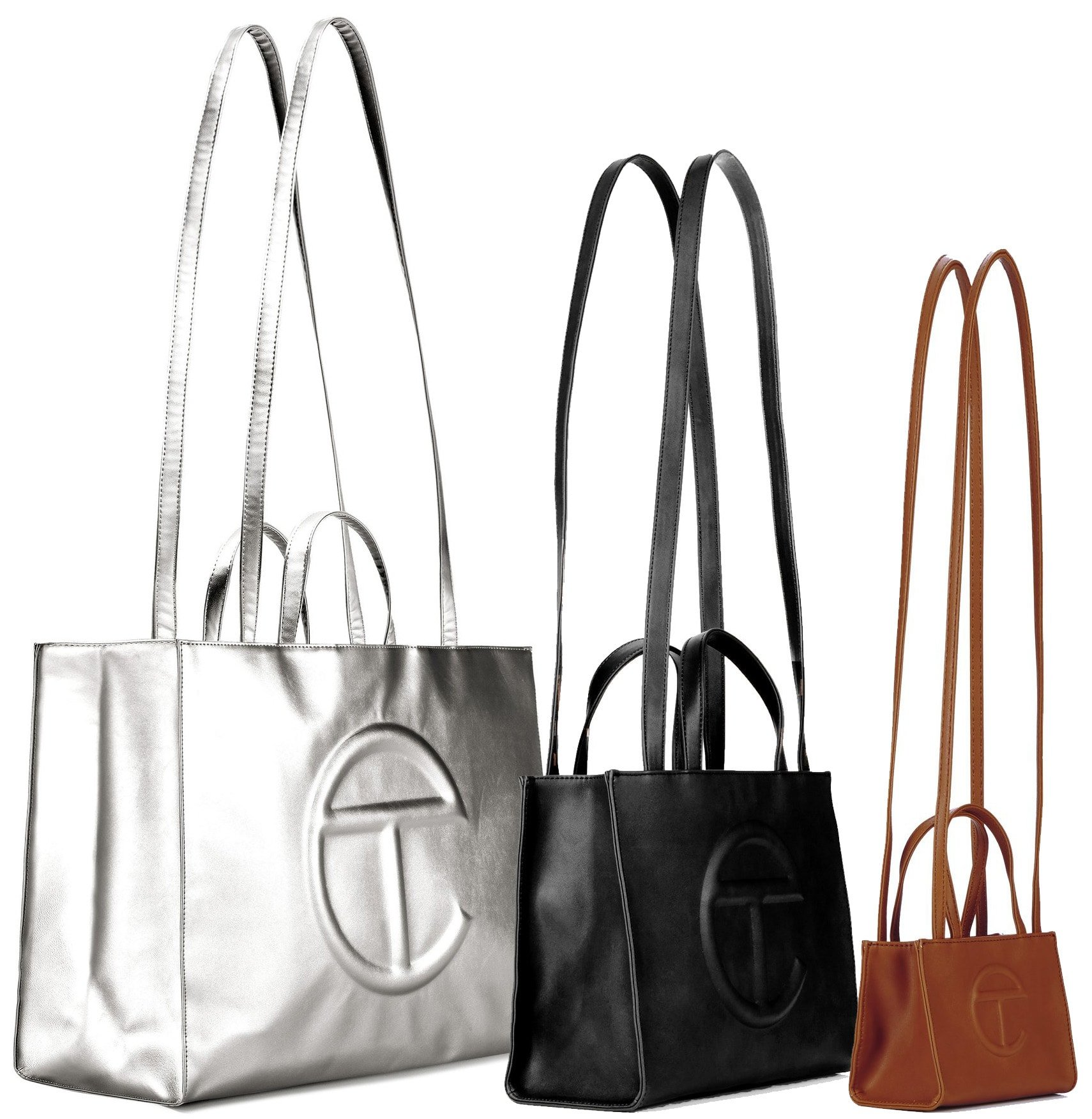 Telfar's popular vegan shopping bag comes in three sizes: small, medium, and large