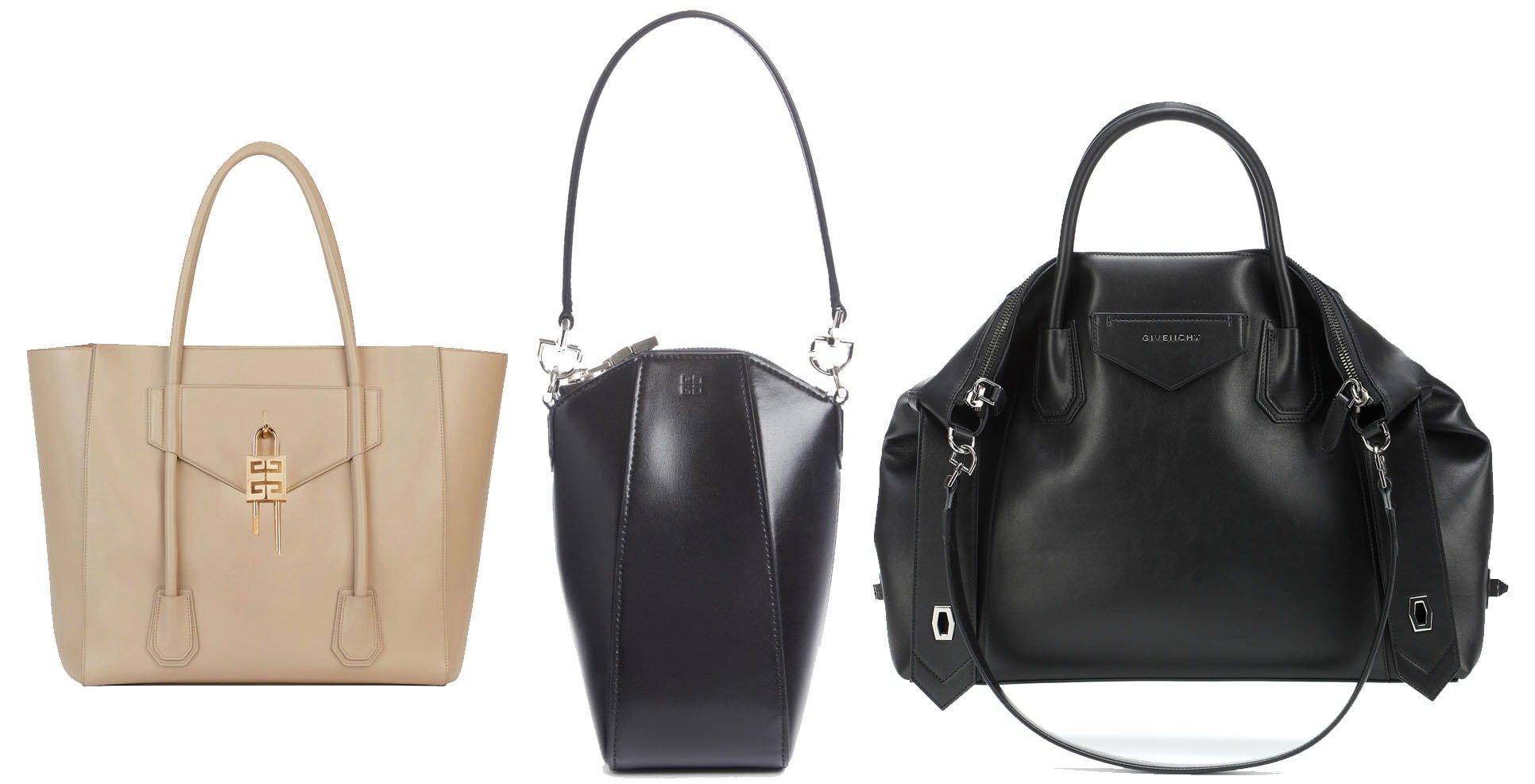 Givenchy Antigona soft shopper bag (left), mini vertical leather bag (middle), soft medium leather tote (right)