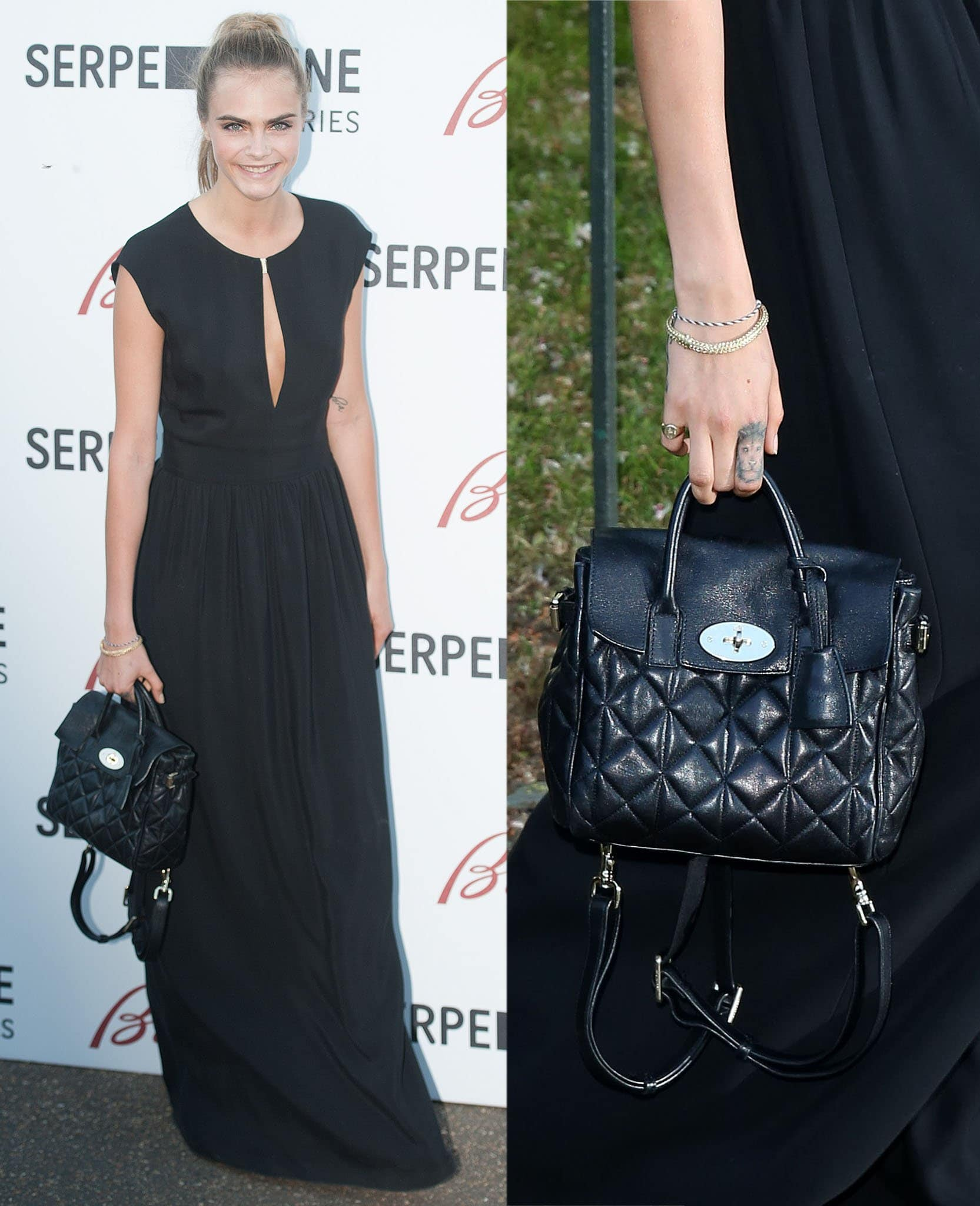 Cara Delevingne carries a quilted black nappa bag from her 2014 collaboration with Mulberry at the Serpentine Gallery summer party in 2013