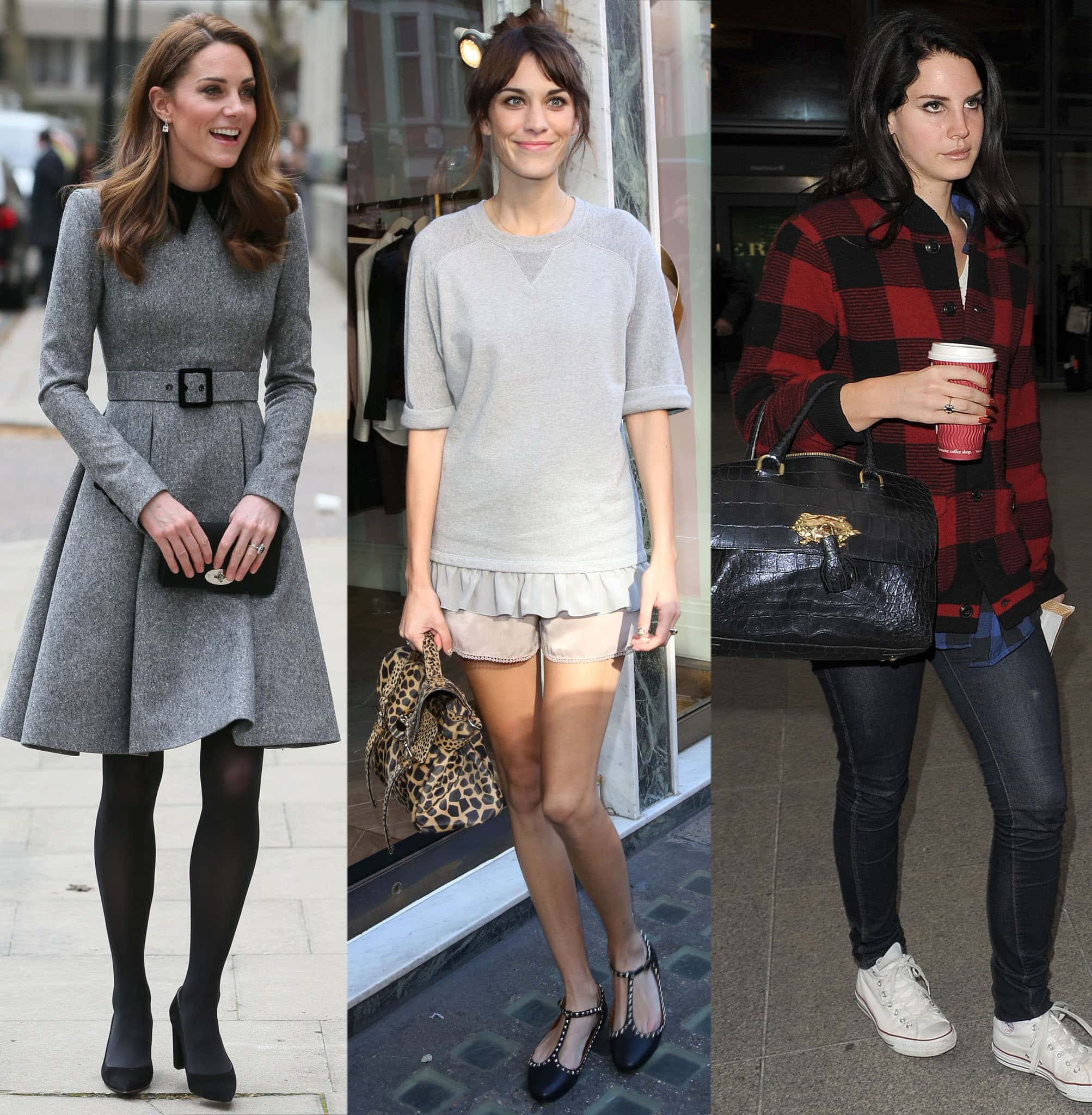 Catherine Duchess of Cambridge, Alexa Chung, and Lana Del Rey carrying different Mulberry bags