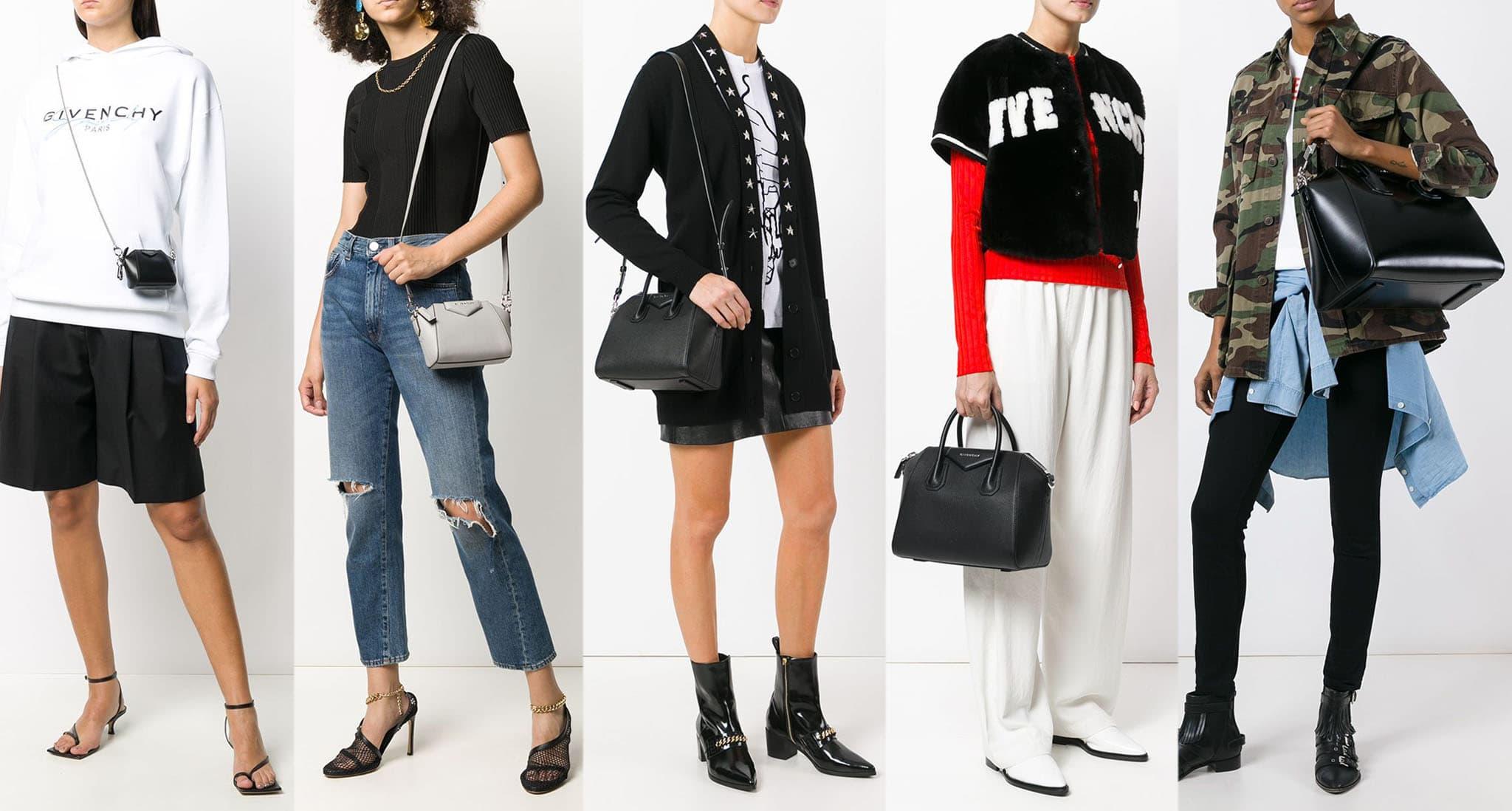 Givenchy Antigona bag sizes (left to right) Baby, Nano, Mini, Small, and Medium