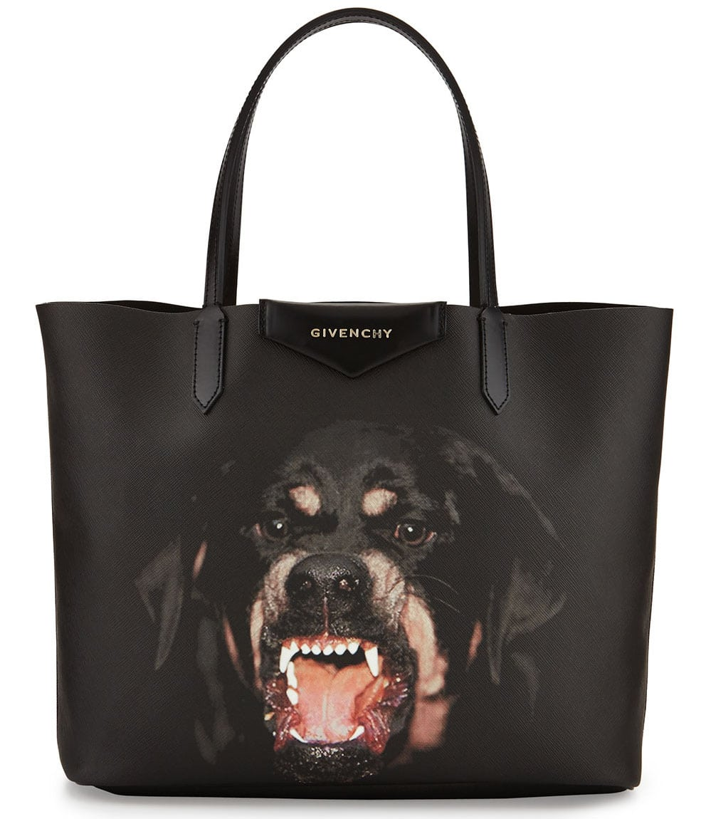 The Givenchy Antigona Rottweiler is a tote bag that has a distinct rottweiler print on the front