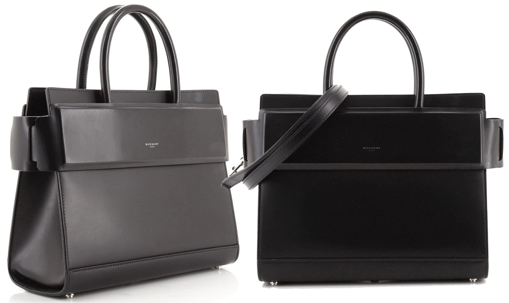 A structured satchel, the Givenchy Horizon features a timeless silhouette with two top handles and a minimalist Givenchy logo