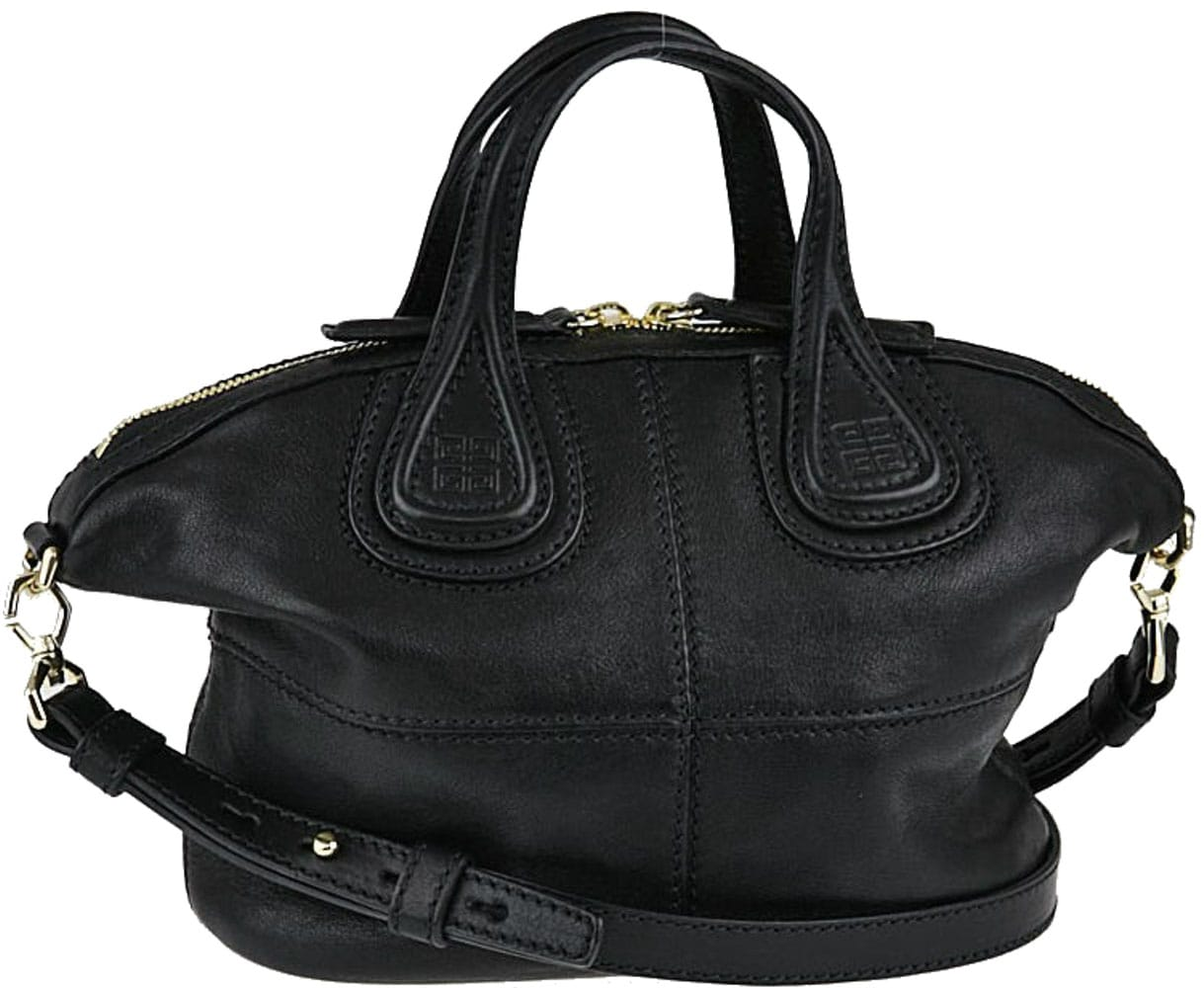 Givenchy Nightingale is a hobo-style bag with double top handles, double top zips, and a detachable shoulder strap