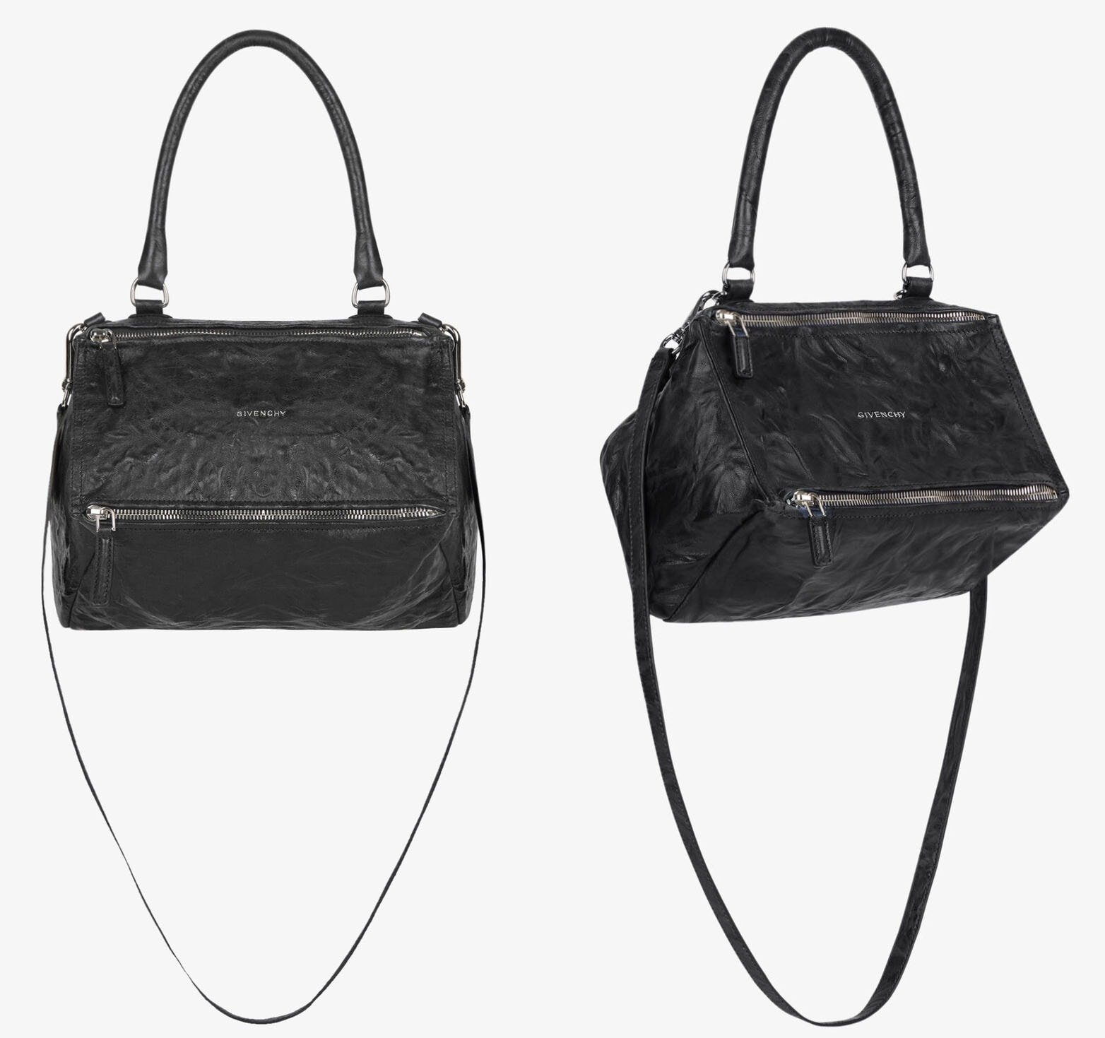 Easily identified by its cube shape, the Givenchy Pandora has two metal zips, a single handle, and a removable shoulder strap