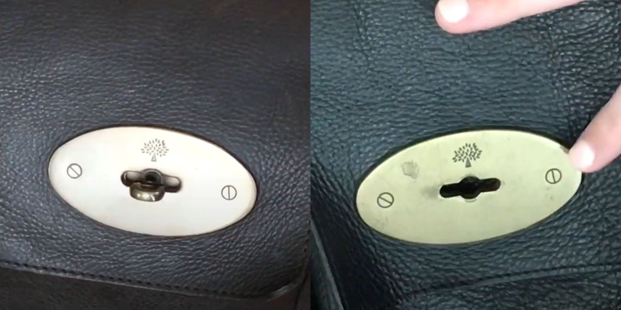 The original Mulberry bag (left) has a faded gold-tone hardware, while the fake one has yellow gold-tone hardware (right)