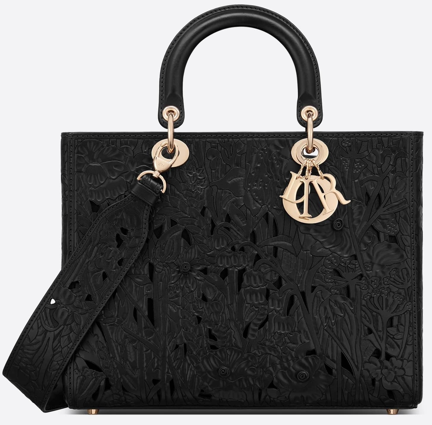 One of the most expensive Christian Dior bags, this black hand-embossed calfskin Lady Dior bag retails for $8,000