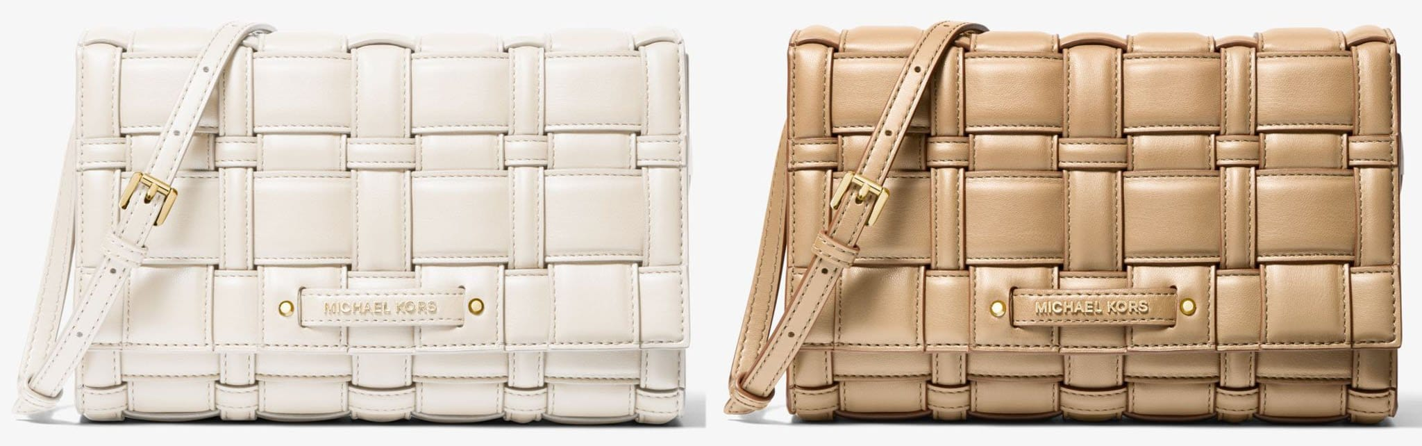The luxurious architectural quilting defines the Michael Kors Ivy woven crossbody bag
