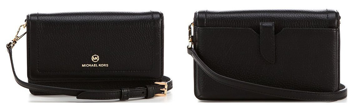 Small yet functional, the Michael Kors Jet Set Smartphone convertible crossbody has interior pockets and a back snap pocket