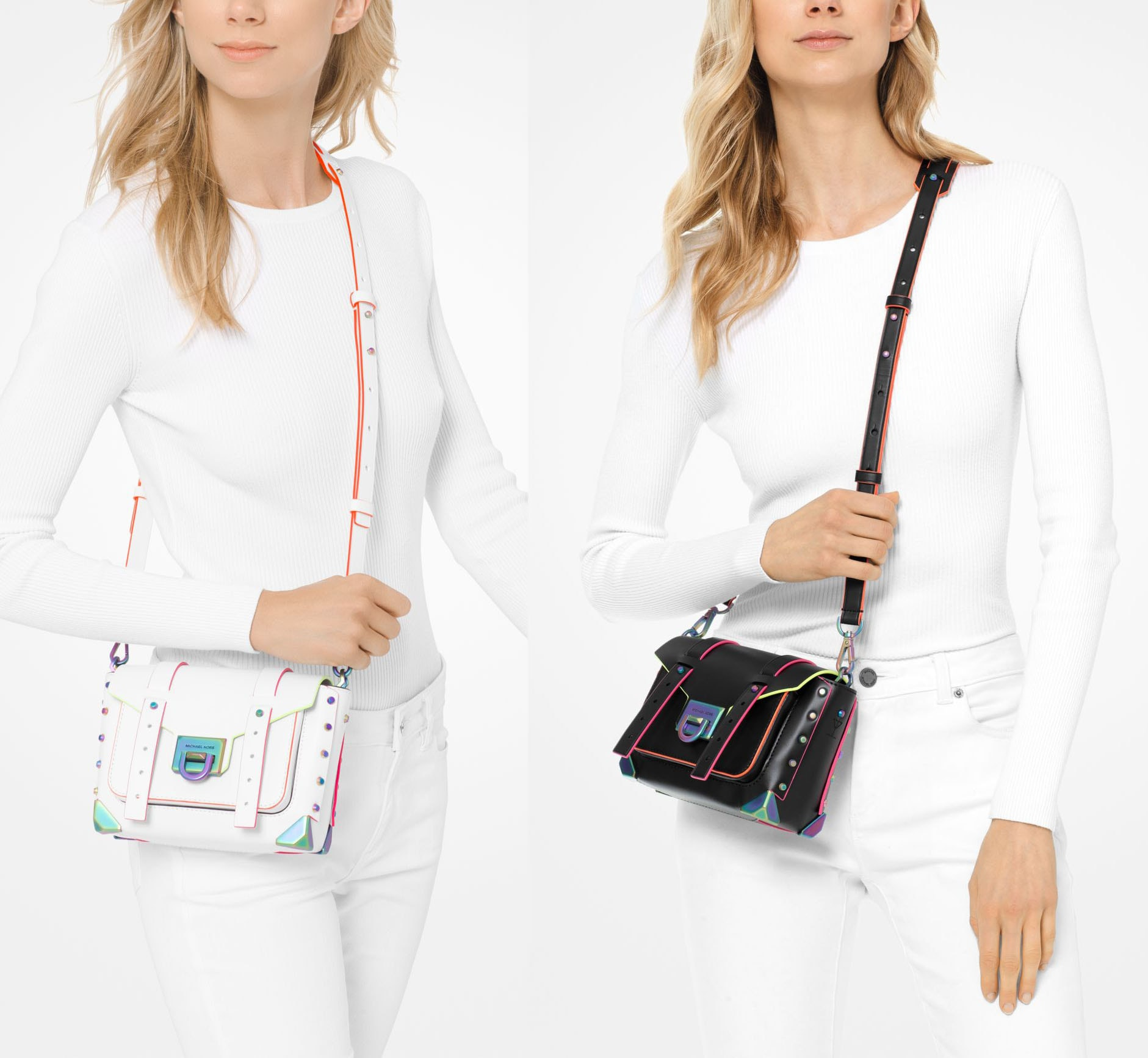 Available in three colors, the Manhattan crossbody bag features chic neon contrasting trims and iridescent metal hardware